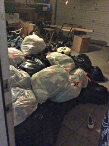 Only some of the bags of clothes Richardson has collected for the clothing exchange.
