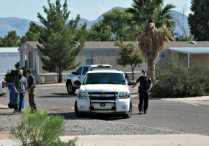 Contributed Photo/Courtesy Charlie Scrofano: Police investigate an arson and stolen car call at Sunrise Village.