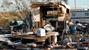 Jon Johnson Photo/Gila Valley Central: A 'suspicious' fire burned this trailer to the ground south of Safford.