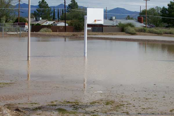 Jon Johnson Photo/Gila Valley Central: Many parks and other areas were left under water after the storm.