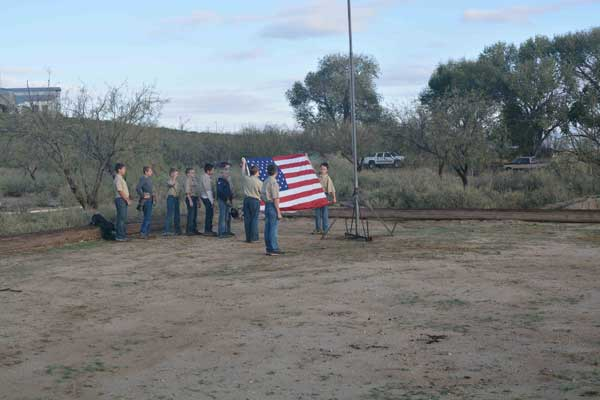 Contributed Photo: Tiger scouts perform a flag raising ceremony.