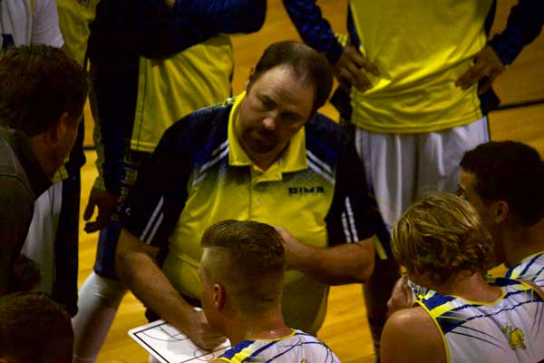 Jon Johnson Photo/Gila Valley Central: Pima head coach Cliff Thompson draws up a play during a timeout.