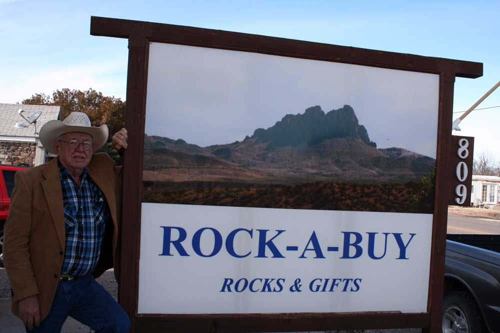 Photo By Walter Mares: Doug Barlow stands ready to greet customers at his Rock-A-Buy rock shop in Duncan.