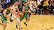 Jarrett Kartchner (4) races Dallin Cook (32) towards the basket