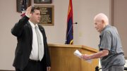 Eric Burk Photo/Gila Valley Central: On Jan. 9 2017, Dick Bingham swears in his grandson, Chris Taylor, to the Safford City Council