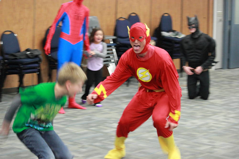 Eric Burk Photo/Gila Valley Central: The Flash, portrayed by Executive Choir President Darius Martindell, led the children in several variants of tag.