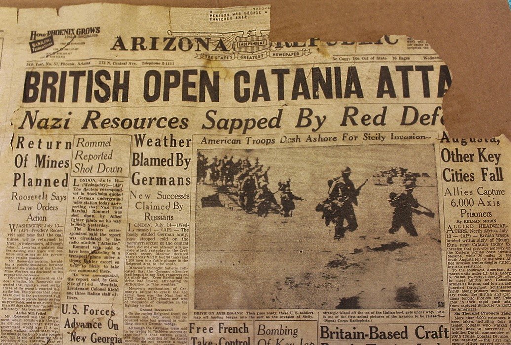 Brooke Curley Photo/ Gila Valley Central: Saved from the fire by Chief Payne, this newspaper from July 1943. The photo in the paper of the U.S forces storming the beach is one of the first to be released depicting the event. If one looks closely, they can see the original paper subscribers to be Mr and Mrs. George A Pearson of Thatcher.