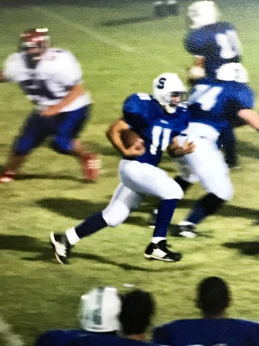 Contributed Photo/Courtesy Chris Taylor: Chris Taylor runs with the football for Safford High School