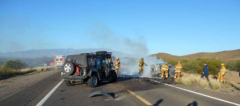 1 deceased, 1 flown to Tucson in head on collision on North U S  191