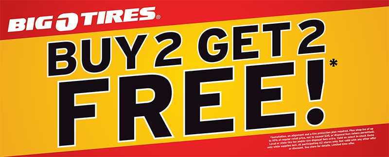 Buy 2 get 2 FREE tire sale valid on purchase of a set of four Falken, Yokohama, Cooper *(excluding Trendsetter SE) brand tires, Pirelli Scorpion ATR and Sumitomo radials in stock with purchase of four premium tire installation packages with Service Central Roadside Assistance and a one year wheel alignment policy on same vehicle at time of.
