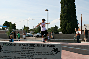 Brooke Curley Photo/Gila Valley Central: The skatepark was the result of numerous volunteers and fund-raising efforts, some of which are honored on this sign.