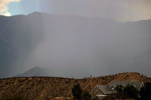 Jon Johnson Photo/Gila Valley Central: Lightning-caused beneficial fires on Mount Graham were reduced after receiving precipitation from an isolated thunderstorm Thursday afternoon.