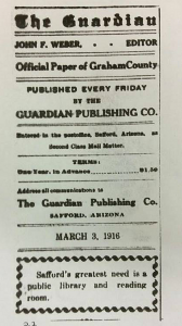 Photo: Brooke Curley/ Gila Valley Central: One of the earliest mentions of the library in the history of the Gila Valley.