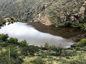 Jon Jonson Photo/Gila Valley Central: Frye Mesa reservoir was filled to the brim due to the water runoff from Mount Graham.