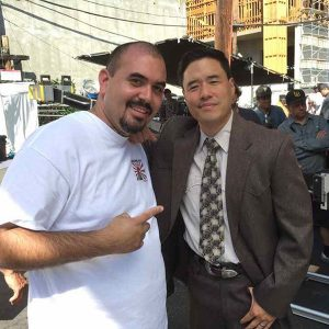 Contributed Photo/Courtesy Noel G: Actor Noel G, left, poses with Randall Park after recently finishing a scene for the television show Fresh off the Boat.