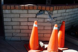 Jon Johnson Photo/Gila Valley Central: The truck damaged this block wall at the car wash.