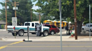 Contributed Photo/Courtesy Hannah Keir: The truck driver who was hit and his truck seemed mostly unscathed.