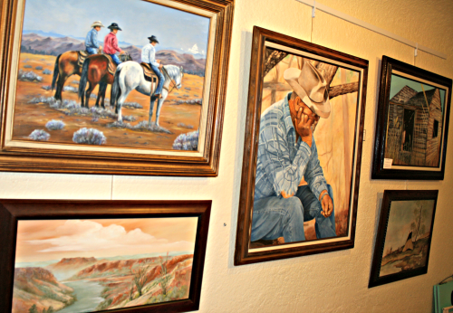 Photo: Brooke Curley/Gila Valley Central.net : The western theme is prevalent in every work on display at the exhibit for the next two months.