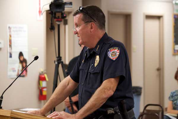 Jon Johnson Photo/Gila Valley Central: Safford Police Chief Joe Brugman stands before the Safford City Council and describes new security cameras for the Safford Skatepark at Firth Park.