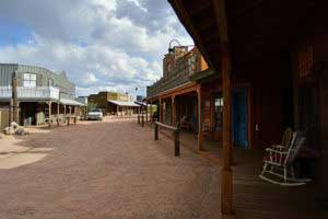 A view of Old West Street at Tucson Monument Guest Ranch just outside of Tombstone. The ranch offers visitors an authentic wild west experience, complete with horseback riding and a western saloon. (Photo by Rebecca Noble, Arizona Sonora News).