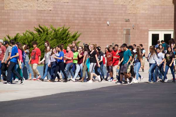 Jon Johnson Photo/Gila Valley Central: Students return to class after the bomb threat was deemed a hoax.