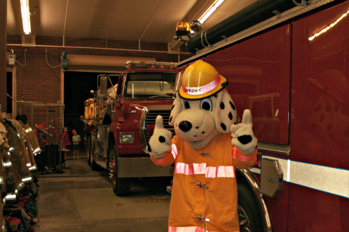Brooke Curley Photo/ Gila Valley Central: Sparky the Dalmatian was at the fire station to visit with attending kids.