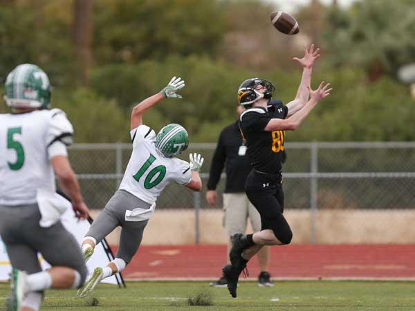 Photo By Michael Chow: Round Valley's Rhett Bingham hauls in a touchdown.