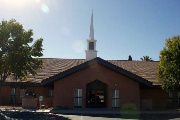 Jon Johnson Photo/Gila Valley Central: Gillespie was reportedly attempting to cross the street to get to the LDS seminary building, which is across a parking lot to this LDS chapel.