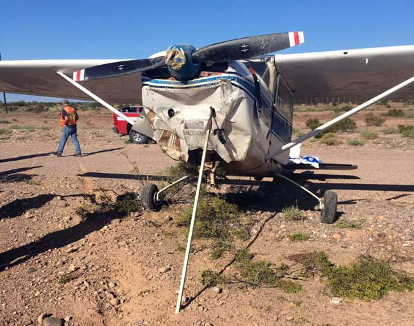 Photo By Safford Fire Department: The front of the plane took the brunt of the impact during the forced emergency landing.