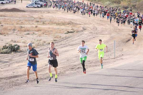 Contributed Photo/Courtesy Jace Nelson: Competitive racers begin to separate from the pack at the start of the run.