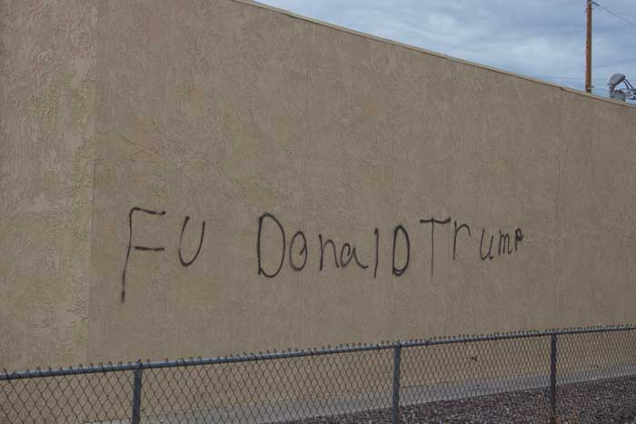Jon Johnson Photo/Gila Valley Central: The graffiti was found in multiple locations, including the side of this residence on 12th Avenue. The expletive has been partially erased by Gila Valley Central.