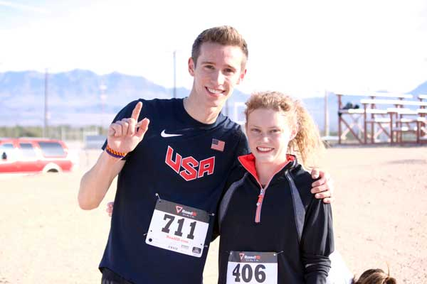 Jon Johnson Photo/Gila Valley Central: Bailey Roth, left, and Kaitlyn McDougal were the top male and female finishers in this year's turkey trot.