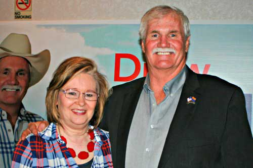 Brooke Curley Photo/Gila Valley Central: Drew John and his wife, Debbie John, celebrate his win.