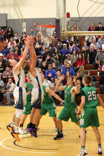 Eric Burk Photo/Gila Valley Central: The Pima Roughriders overpowered the undermanned Thatcher Eagles to easily take home the trophy in the 54th annual EAC Holiday Boys Basketball Tournament on Wednesday.