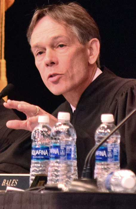 Photo By Raymundo Frasquillo: Arizona Supreme Court Chief Justice Scott Bales answers a question from students following a court session held at Morenci High School. Morenci. Students from Duncan High School also attended the session.