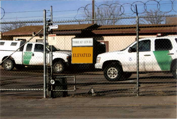 Photo By Dexter Oliver: The Border Patrol lists its threat level.