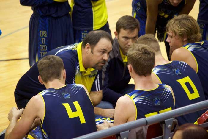 Jon Johnson Photo/Gila Valley Central: Pima head coach Cliff Thompson draws up a play.