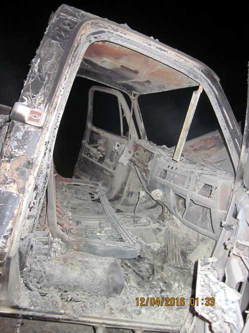 Contributed Photo/Courtesy GCSO: The interior of the truck was completely burned.