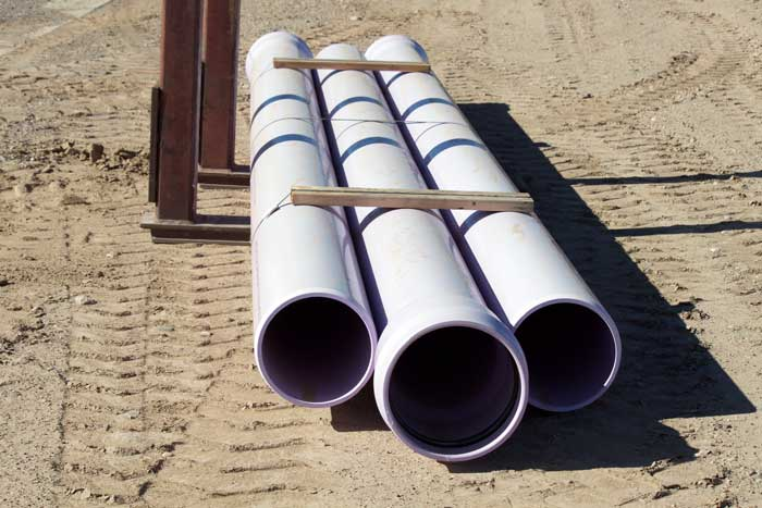 "Jon Johnson Photo/Gila Valley Central: This 12"" purple C900 pipe is what the reclaimed water will be pumped through."