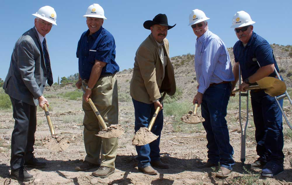 Jon Johnson File Photo/Gila Valley Central: Various dignitaries attended the groundbreaking ceremony in June, including, from left, Justice of the Peace District 2 Judge Wyatt Palmer, Graham County Supervisor Jim Palmer, Sheriff P.J. Allred, former Graham County Supervisor and current State Representative Drew John and Jail Commander Tim Graver.