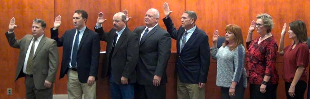 Jon Johnson Photo/Gila Valley Central: Graham County's elected officials take their oath of office.