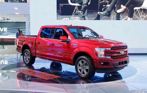 A 2018 Ford F-150 is displayed at the North American International Auto show, Monday, Jan. 9, 2017, in Detroit. (AP Photo/Carlos Osorio)