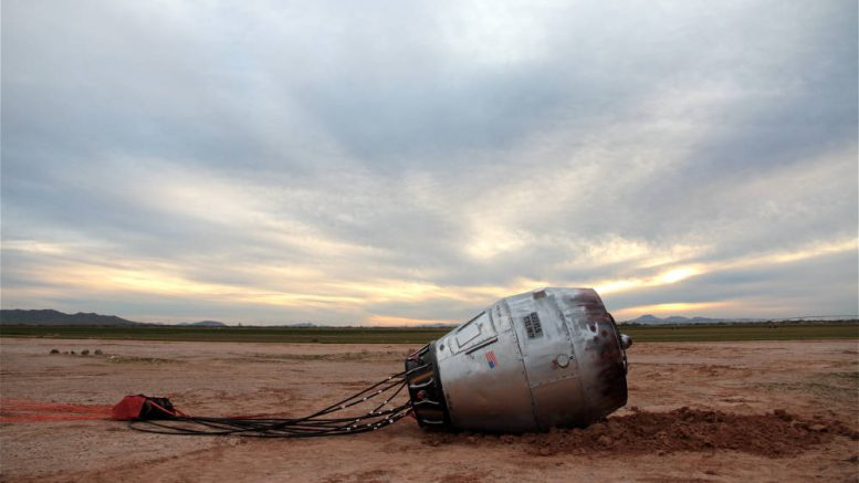 Contributed Photo/Courtesy Aimee Madsen: A space capsule from a repurposed cement mixer drum lies in the desert near I-10.
